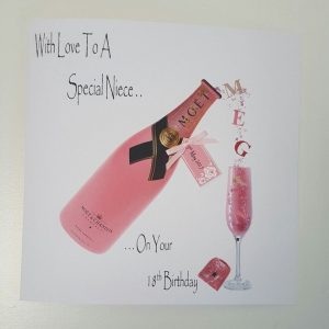 Personalised 18th Birthday Card Niece Pink Champagne Any Relation Any Age Any Tipple