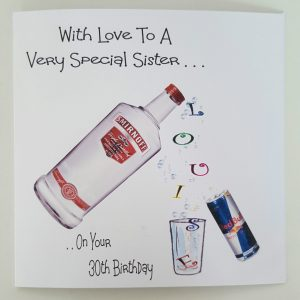 Personalised Birthday Card 30th Vodka Red Bull Auntie Friend Sister Mum Dad