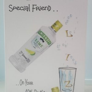 Personalised Birthday Card Vodka Friend Dad Any Relation Any Beverage Any Colour