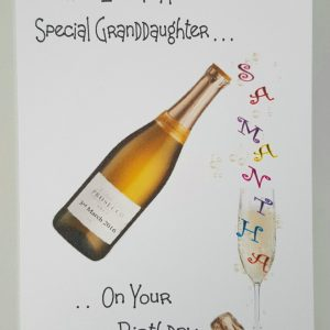 Personalised Birthday Card Prosecco Granddaughter Auntie Any Relation Any Age