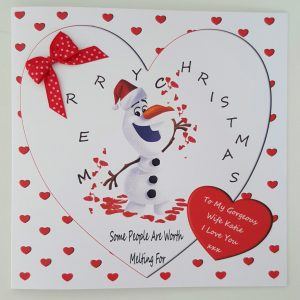 Personalised 8 x 8 Christmas Card Olaf Frozen Girlfriend Boyfriend Any Relation Any Colour