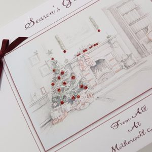 Personalised Christmas Cards Individual Packs Traditional Themed – Fireplace A5