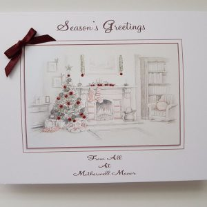Personalised 8×6 Christmas Cards Individual Packs Traditional Themed Fireplace