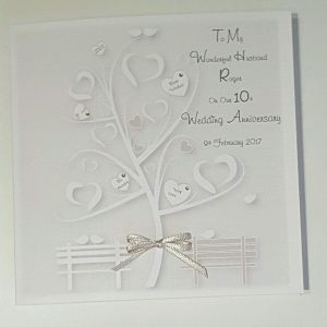 Personalised 10th Wedding Anniversary Card Husband Or Wife Any Year Or Colour (SKU708)