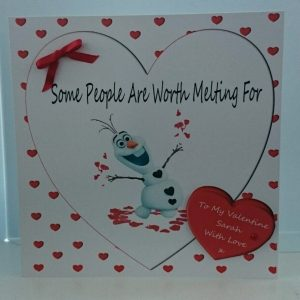 Personalised 8 x 8 Valentine's Day Card Olaf Frozen Girlfriend Boyfriend Any Relation Any Colour