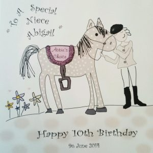Personalised 8 x 8 Birthday Card Niece Goddaughter Any Relation Any Age Any Colour