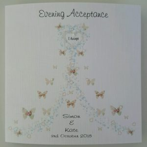 Handmade 6 x 6 Personalised Wedding Day Evening Acceptance / Regret Card Any Colour