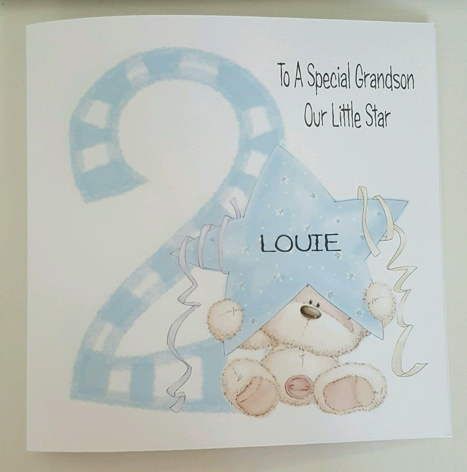 LARGE PERSONALISED 2ND BIRTHDAY CARD GRANDSON NEPHEW SON