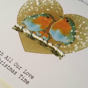 Personalised Christmas Card Robin Special Couple (SKU818)