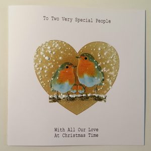 LARGE PERSONALISED CHRISTMAS CARD ROBIN MUM DAD GRANDMA GRANDAD SPECIAL COUPLE