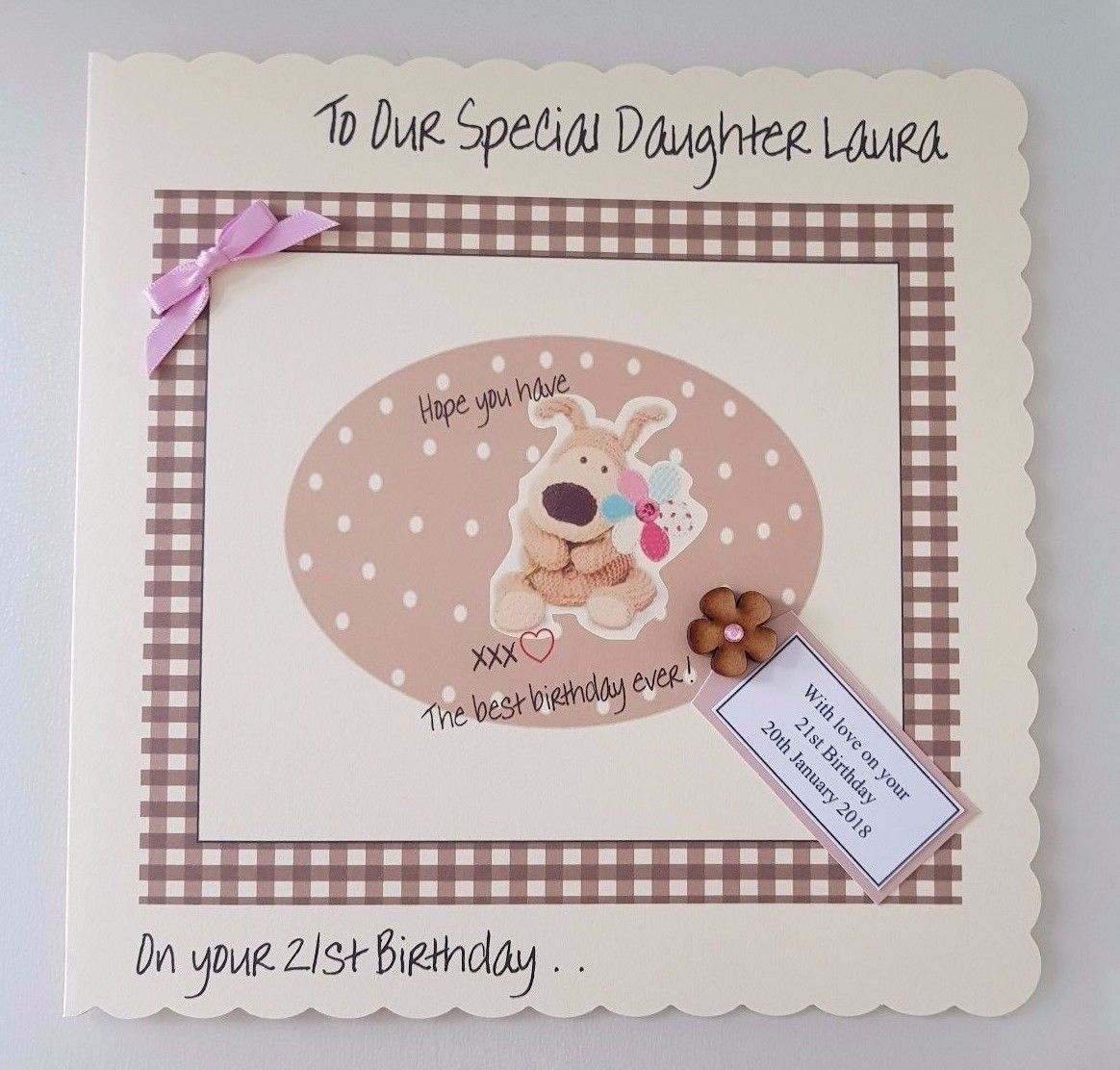 LARGE Personalised Boofle Birthday Card Daughter 13th 16th