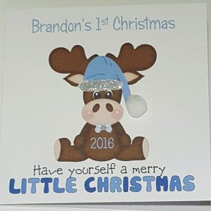 Personalised Baby's 1st Christmas Card Girl or Boy Any Colour Any Relation