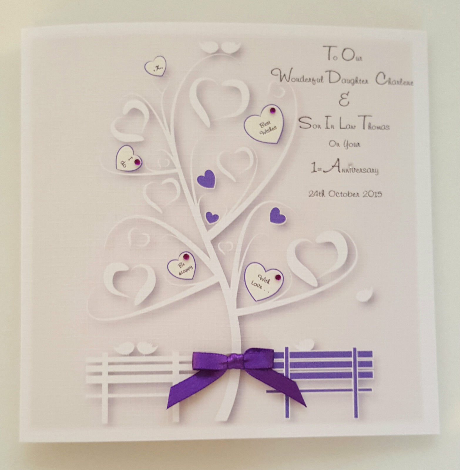 First Wedding Anniversary Gifts For Son And Daughter In Law: Personalised 1st Wedding Anniversary Card Daughter Son In