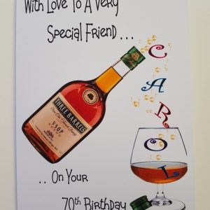 Personalised 70th Birthday Card Friend Brandy Any Bottle Any Age Any Relation