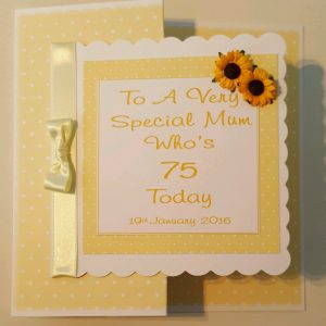 Personalised 8×8 75th Boxed Birthday Card Special Mum Any Person Any Age Any Colour