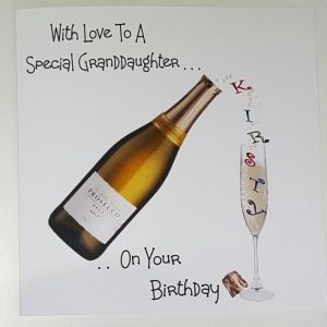 Personalised Birthday Card Granddaughter 21st 18th 40th Prosecco BOXED OPTION