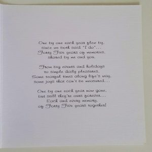Personalised On Our 45th Sapphire Wedding Anniversary Card Husband Wife Any Occasion Any Colour