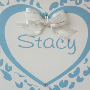 Personalised 8 x 8 Wedding Day Card Bride Wife To Be Blue Silver White Any Colour