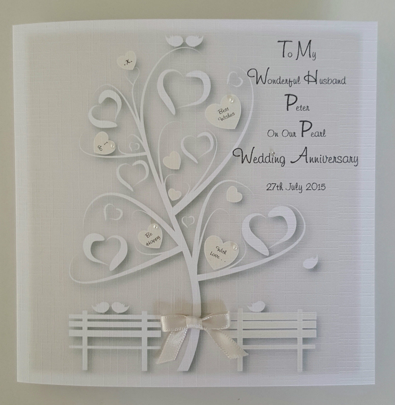 stunning personalised pearl wedding anniversary card
