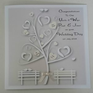 Stunning 8 x 8 Personalised Wedding Day Card Ivory Pearl Auntie Uncle Any Relation Any Colour