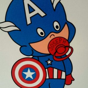 Handmade Personalised New Baby Boy Card 8×8 Twins Triplets Captain America Theme