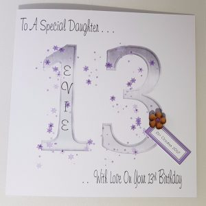 Personalised 8×8 13th Birthday Card Daughter Any Person Any Age Any Colour