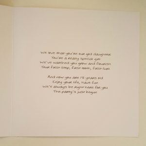Personalised 18th Birthday Card Goddaughter Any Person, Age Or Colour (SKU819)