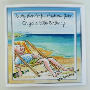 Personalised 8 x 8 60th Birthday Card Beach Theme Husband Grandad Any Relation Any Age