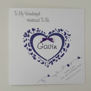 Personalised 8 x 8 Wedding Day Card Husband To Be Cadbury Purple Any Colour