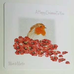 Personalised 8×8 Christmas Card Robin Poppies Grandma Any Relation