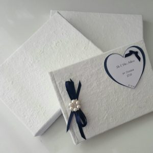 **PERSONALISED MULBERRY GUEST BOOK GIFT BOXED – ANY OCCASION OR RIBBON COLOUR**