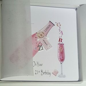 Personalised 21st Birthday Card Daughter Pink Champagne Any Relation Any Age Any Tipple