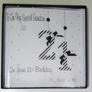 Personalised 8×8 21st Birthday Card Gift Wallet Grandson Son Nephew Any Age Any Relation Any Colour
