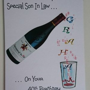 Personalised 40th Birthday Card Son In Law Red Wine Dad Grandad Brother Any Age