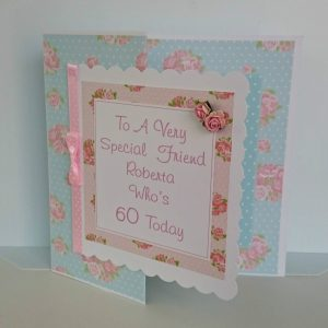 Personalised 8×8 60th Birthday Card Special Friend Any Person Any Age Any Colour