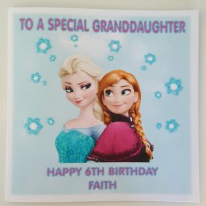 Personalised 8 x 8 6th Birthday Card Frozen Elsa Goddaugter Granddaughter Any Relation Any Age