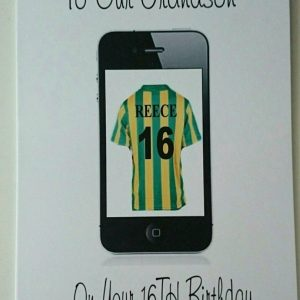 Personalised Birthday Card Son 8th 18th 28th iphone Any Football Team Age Person