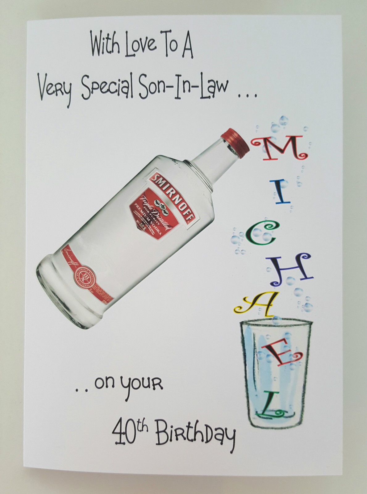 Personalised Birthday Card Vodka Whiskey Gin Rum Wine