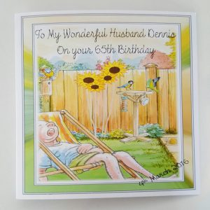 Personalised 7 x 7 Birthday Card Husband Garden Theme Any Relation Any Age