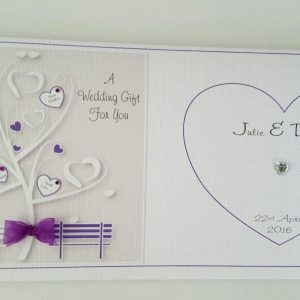 Personalised Wedding Card & Matching Gift Money Wallet Cadbury Purple Any Colour