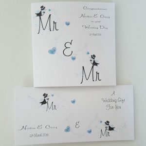 Personalised Wedding Card & Money Gift Wallet Gay Same Sex Marriage (SKU822)