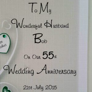 Stunning Personalised On Our 55th Emerald Wedding Anniversary Card Husband Wife Any Relation Any Occasion Any Colour