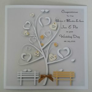 Stunning 8 x 8 Personalised Wedding Day Card Sister Brother In Law Any Relation Any Colour
