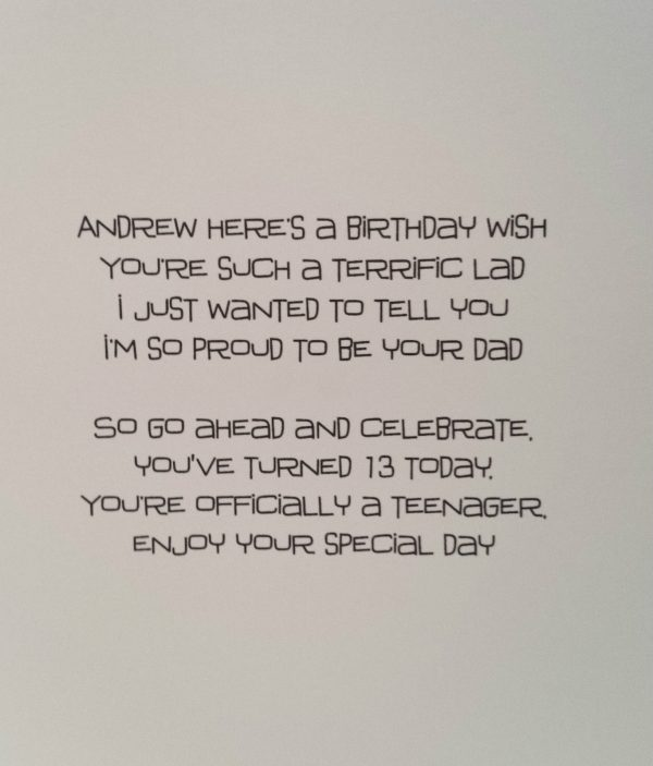 Handmade Personalised 13th Birthday Card Son