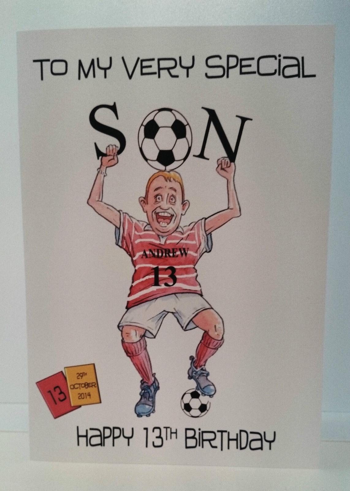 Handmade Personalised 13th Birthday Card Son Godson Grandson