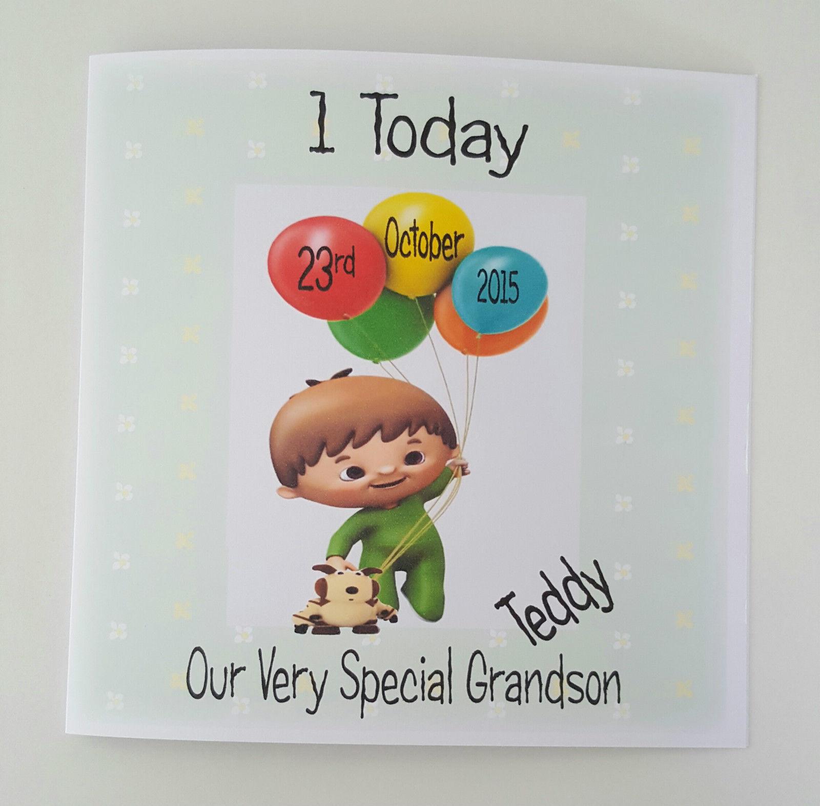 Large Personalised Cuddlies Baby TV 1st Birthday Card Grandson Son