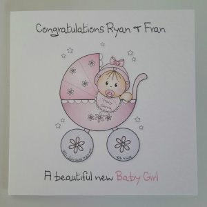 Personalised New Baby Girl or Boy Card Twins Triplets Any Occasion Any Colour