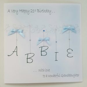 Personalised 8 x 8 21st Birthday Card Granddaughter Any Relation Any Age Any Colour