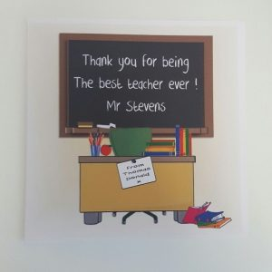 Large Personalised Best Teacher Thank You Card School Blackboard