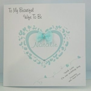 Personalised 8×8 Wedding Card Wife Husband To Be Mint Any Colour